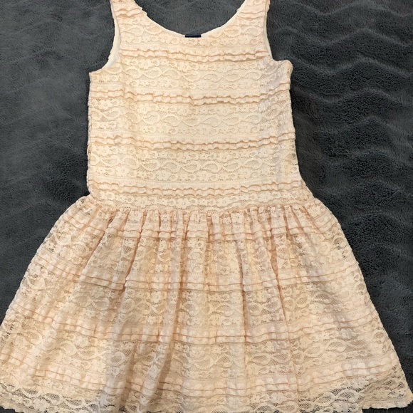 Girls Cream Lace Country Dress
